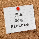"""note with words """"The Big Picture"""" tacked to bulletin board"""