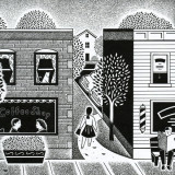 a small town downtown; illustration by Paul Hoffman for PlannersWeb