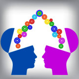 graphic of two heads sharing ideas