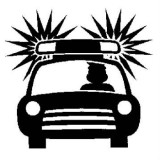 illustration of a police car in silhouette