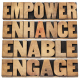 graphic of words: empower, enhance, enable, and engage