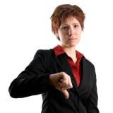 woman indicating thumbs down