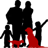 silhouette illustration of a couple and two children