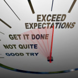 """graphic of dial with the words """"exceed expectations"""""""