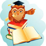 illustration of a wise owl standing on stack of books