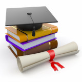illustration of diploma, books, and graduation mortarboard