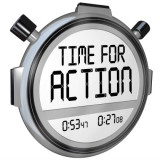 """stopwatch with the words """"time for action"""""""