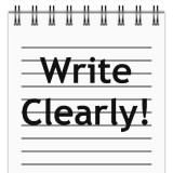 """page in notepad with the words """"Write Clearly!"""""""