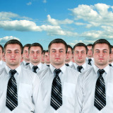 photo of group of identical looking businessmen