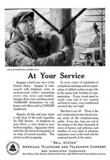 1922 Bell System advertisement