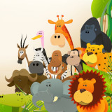 illustration with diverse assortment of animals