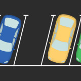 abstract graphic showing cars and an empty parking space