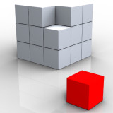 image of red piece of a large white cube