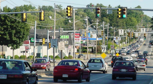 Typical commercial strip roadway corridor