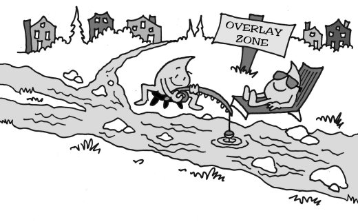 cartoon by Marc Hughes for PlannersWeb article on overlay zoning