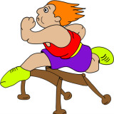 cartoon image of a hurdler