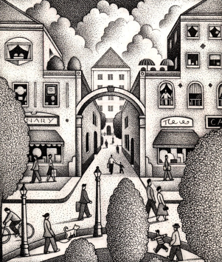 Illustration of a town center by Paul Hoffman for PlannersWeb