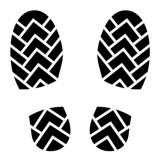 illustration of black imprint of walking shoes