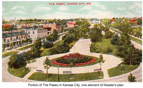 postcard of The Paseo in Kansas City