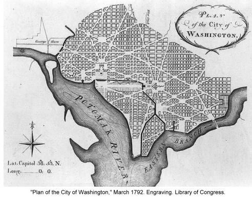 illustration of L'Enfant Plan for Washington, DC