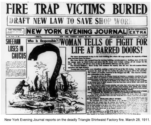 Triangle Fire newspaper headline