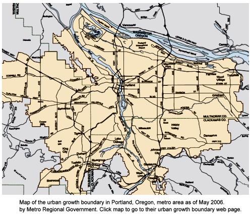 Map of Portland, Oregon, Urban Growth Boundary