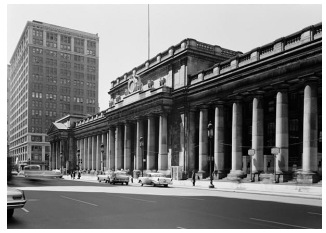 Photo of exterior of old Pennsylvania Station in New York