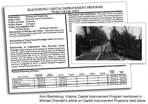 page from Blacksburg, Virginia, capital improvement plan