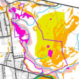 GIS map used to evaluate zoning changes in a small town.