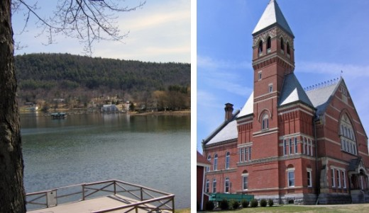 Lake Otsego and the Otsego County Courthouse in Cooperstown, New York
