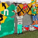 Recycled road signs used in gateway art project in Meadville, Pennsylvania
