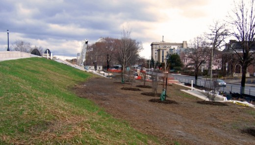 Construction along the riverfront embankment in Wilkes-Barre
