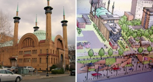 Photo and rendering of the Irem Temple in Wilkes-Barre