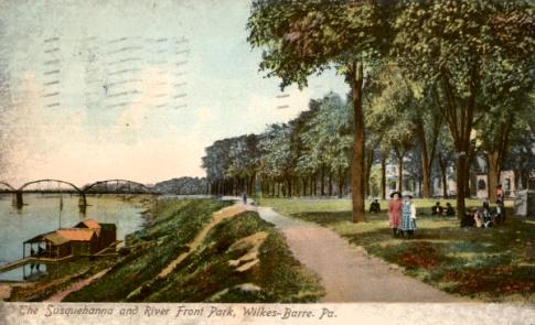 Old postcard of Wilkes-Barre riverfront park