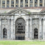 portion of façade of Detroit Michigan's abandoned Central Railroad Station
