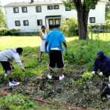 Young people working on a community garden in Flint, Michigan