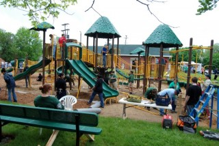 Playscape constructed in a neighborhood park in Flint