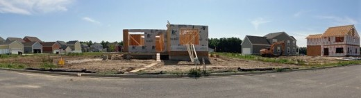 Housing under construction in Village in Burns Harbor
