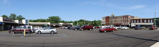 Parking lot serving downtown Niles shopping plaza