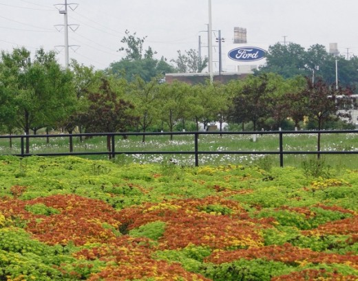 Plantings and trees in front of the River Rouge assembly plant