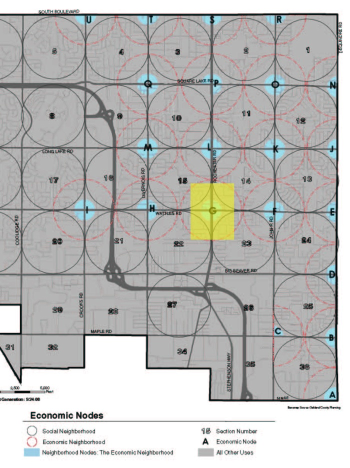 Map from Troy Master Plan showing the nodes at key intersections