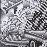 Illustration of car, plane, and buildings by Paul Hoffman for PlannersWeb