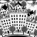 illustration of houses atop apartment buildings, by Paul Hoffman for PlannersWeb