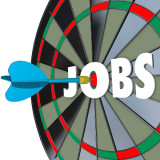 """dartboard with the word """"Jobs"""" in the center"""