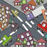 abstract illustration of congested intersection
