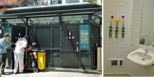 Public restrooms inside Greeley Park in New York City