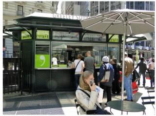 food kiosk inside Greeley Park in Manhattan
