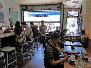 inside restaurant bordering Petrosino Square
