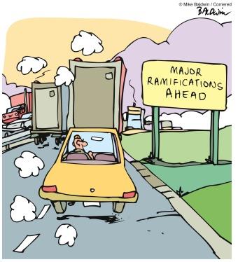 illustration with billboard saying Major Ramifications Ahead