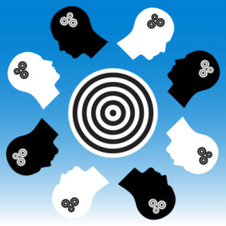 abstract image of thinking heads around a round table